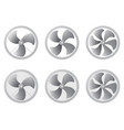 set of icons fan ventilation airflow vector image