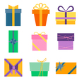 Set of nine colorful icons of gift boxes vector image vector image