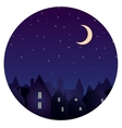 silhouette city and night sky with stars moon vector image