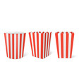striped paper box for popcorn in cinema vector image