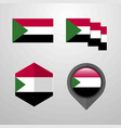 sudan flag design set vector image vector image