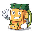 thumbs up backpack character cartoon style vector image