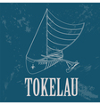 Tokelau Polynesian canoeing Retro styled image vector image vector image