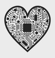 valentines day black and white cyber heart vector image vector image