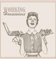 vintage working housewife wallpaper vector image vector image