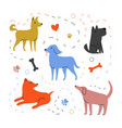 with dog walking party paws and bones vector image