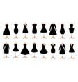 woman black dresses fashion icon set vector image vector image