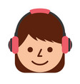 young girl smiling with headphones listen sound vector image