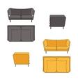 Sofa Set Flat Grey Yellow vector image