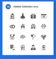 16 celebration filled icons set isolated on vector image vector image