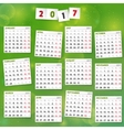 2017 Year Calendar on joyful green background vector image vector image