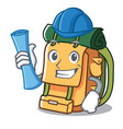 architect backpack character cartoon style vector image