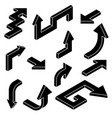 arrows black silhouette isometric icons vector image vector image