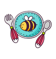 Baby tableware - plate spoon and fork - bright vector image