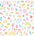 background for cute little kids hand drawn vector image vector image