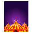 big top circus tent with spotlights background vector image