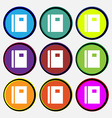 Book icon sign Nine multi-colored round buttons vector image vector image