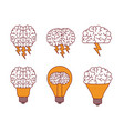 brain silhouettes with lightnings and light bulbs vector image