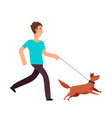 cartoon man running with dog healthy lifestyle vector image vector image