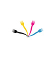 CMYK forks- Logo for a restaurant or cafe vector image vector image