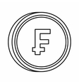 Currency of Switzerland franc icon outline style vector image