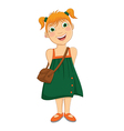 Cute Girl in Green Dress vector image