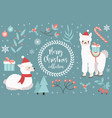 cute llama in winter forest set objects vector image vector image