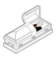 Deceased in coffin Dead man lay in wooden casket vector image vector image