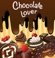 Different kind of chocolate desserts vector image