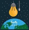 Earth hour light bulb world starry sky