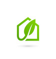 eco leaves house logo icon design template vector image vector image