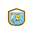 Electrician Holding Lightning Bolt Side Shield vector image vector image