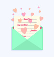 Envelope with Love Letter and Hearts Flying Around vector image vector image