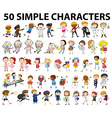 Fifty simple characters doing different things vector image vector image
