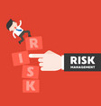 finger push the risk block with businessman stand vector image vector image