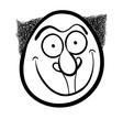 Foolish cartoon face black and white vector image vector image