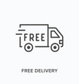 free delivery flat line icon outline vector image