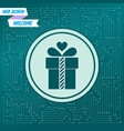 gift box icon on a green background with arrows vector image