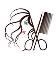 girl face and scissors with comb vector image vector image