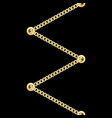golden zig zag straped chains with metal eyelets vector image vector image