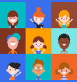 happy kids character in flat design style vector image