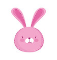 kids toys head pink bunny cartoon isolated icon vector image
