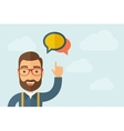 Man pointing the two speech bubbles icon vector image