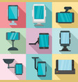 mobile phone holder icons set flat style vector image vector image