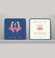 nautical wedding save date card with floral vector image vector image