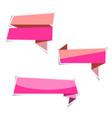 pink ribbon banner paper stickers with shadows vector image vector image