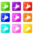 pipe tap icons set 9 color collection vector image vector image