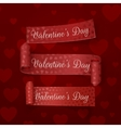 realistic valentines day red scroll ribbons set vector image