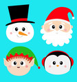 santa claus elf snowman penguin bird round face vector image vector image