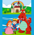 scene with prince and princess by the river vector image vector image